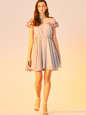 RED POINT MINI DRESS_LIGHT BLUE