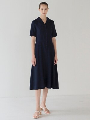 Collar Shirring Dress - Navy
