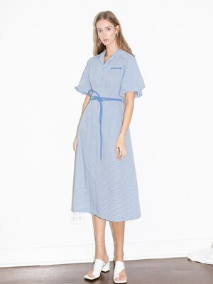 [20SS] LOS FELIZ notched collar balloon short sleeve shirt dress  (Cornflower blue gingham check)
