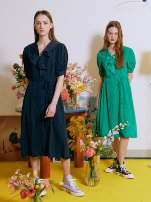 Juliet Ruffle Dress_Dot Navy