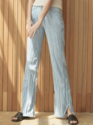 ouie359 wrinkle slit wide denim pt (lightblue)