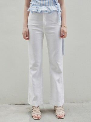 HIGH BOOTCUT COTTON PANTS_IVORY
