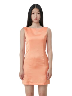 C SATIN 90S LINE DRESS_ORANGE