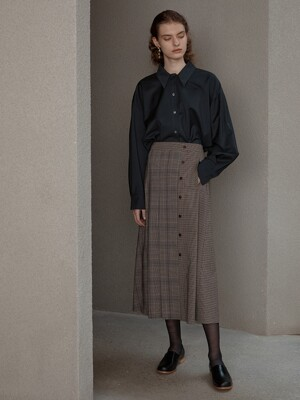 [Day-Wool] Oversized Hidden Panel Shirt + Pleated Check Midi Skirt SET