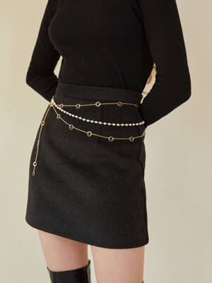 gold chain pearl belt