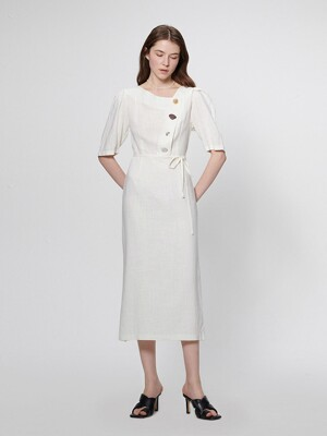 EMMA BUTTON POINT LINEN DRESS_IVORY (EEOO1OPR09W)