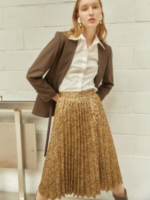 Pleats Button-up Skirt_Goldenhaze