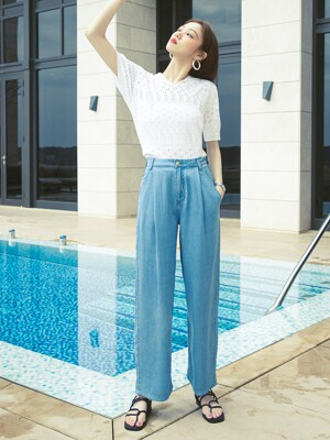 [Summer Denim] Mid-rise Wide Pants