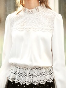LAUREL / Lace Shirring Blouse